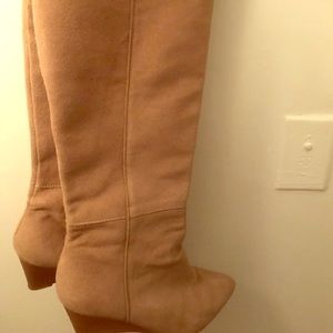 Zara thigh high faux suede wedge shoe boots